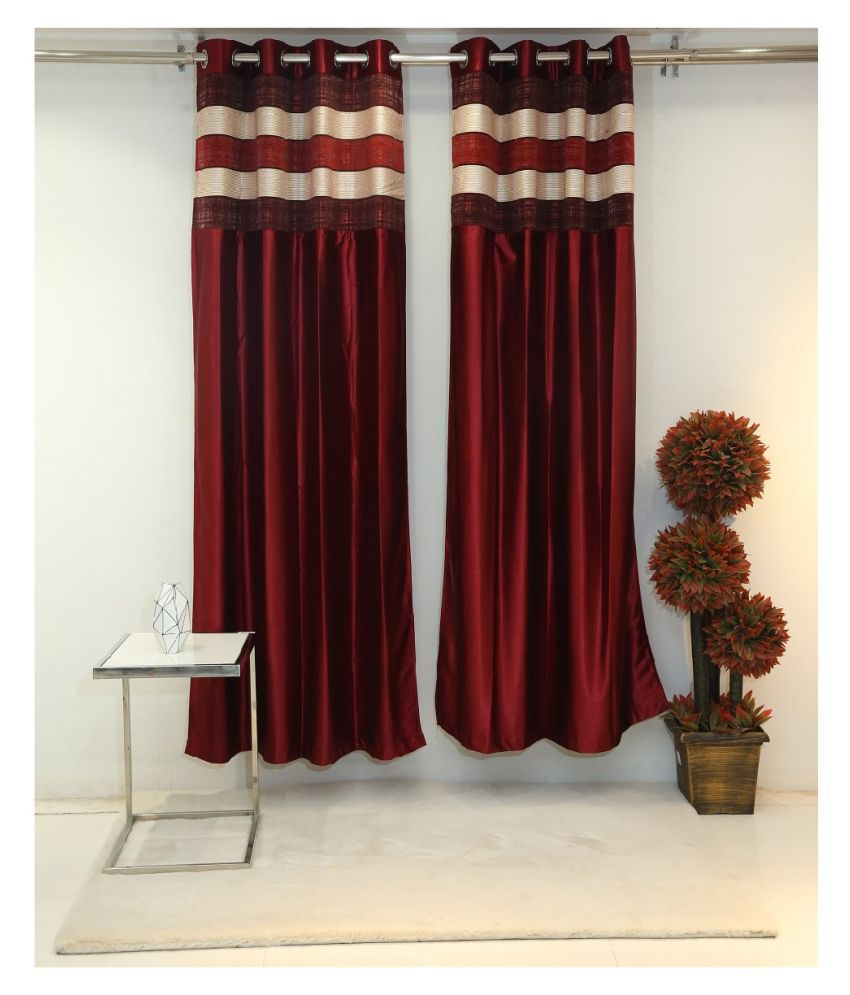 Florance Set of 2 Door Ring Rod Polyester Curtains Maroon