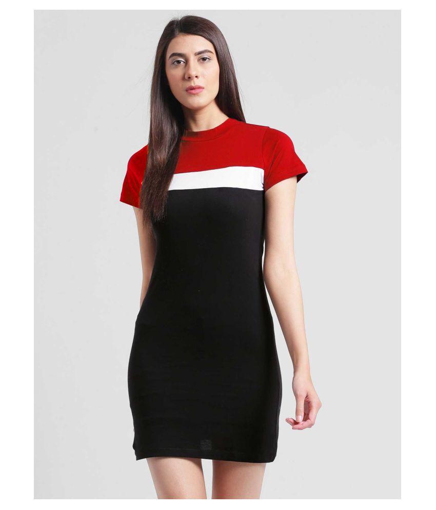 Jambu Creation Cotton Lycra Red Bodycon Dress