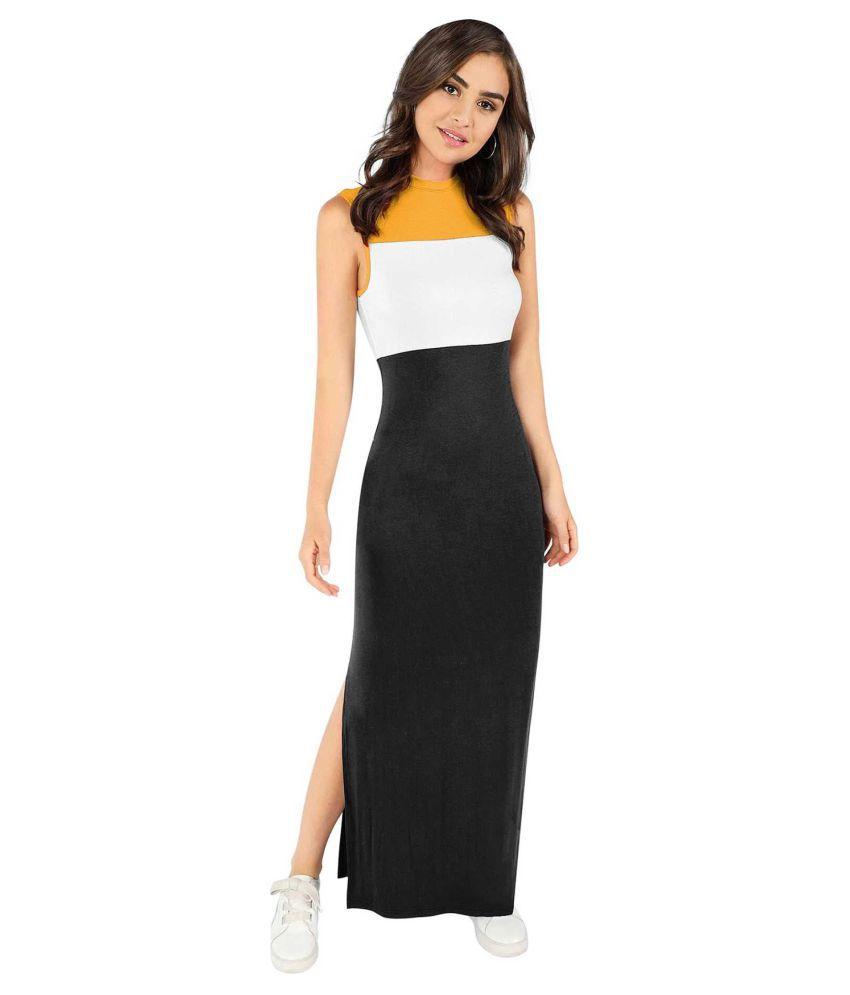Jambu Creation Cotton Lycra Yellow Cut Out Dress