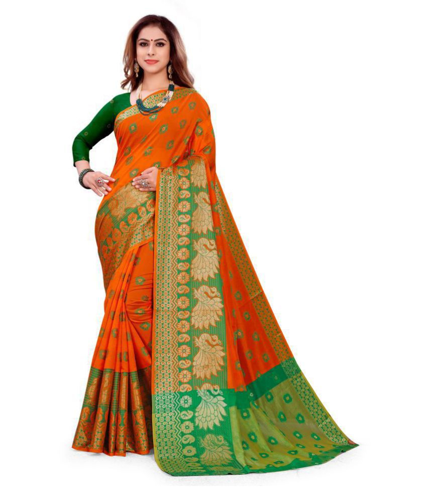 Peora's closet Orange Art Silk Saree