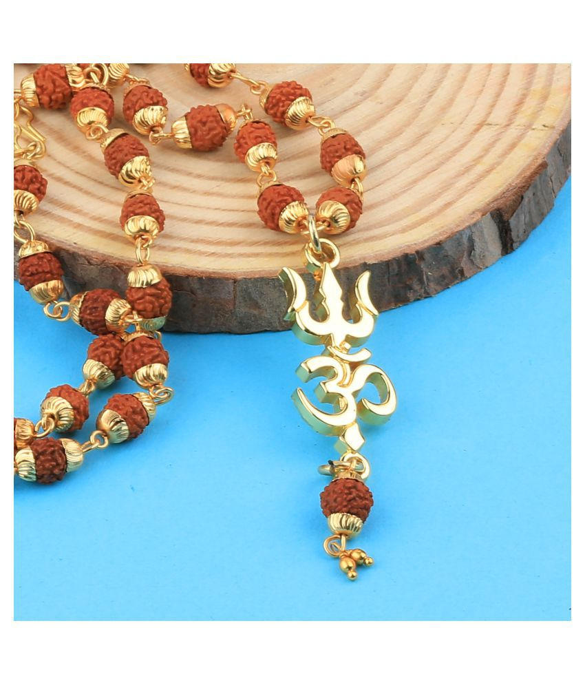 SILVER SHINE Gold Plated  Traditional Rudraksh Mala Om Trishul Pendant for Men and Women