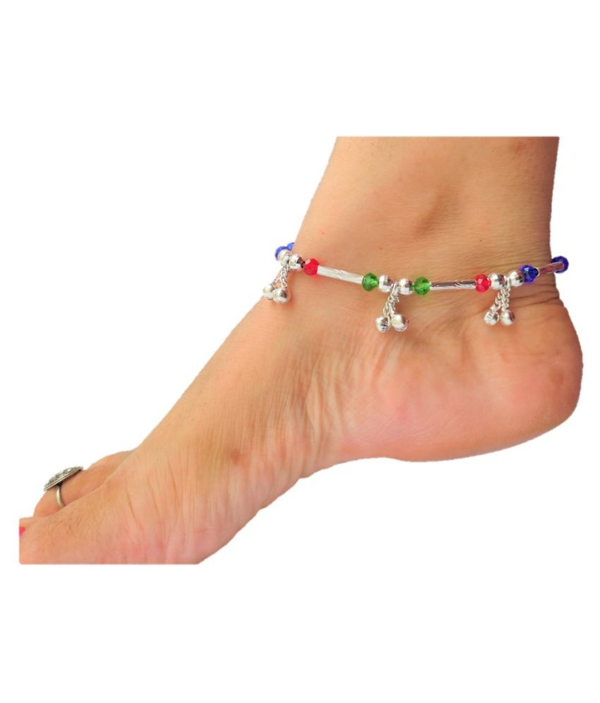 lotus rise Alloy Silver Plated Pair Of Anklets
