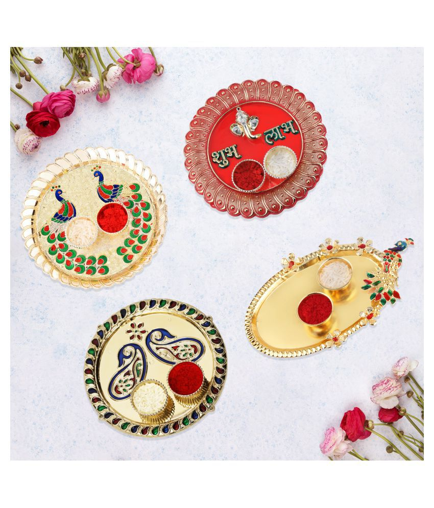 Silver Shine Traditional Designer Combo  Pooja thali pooja tray Pack of 4