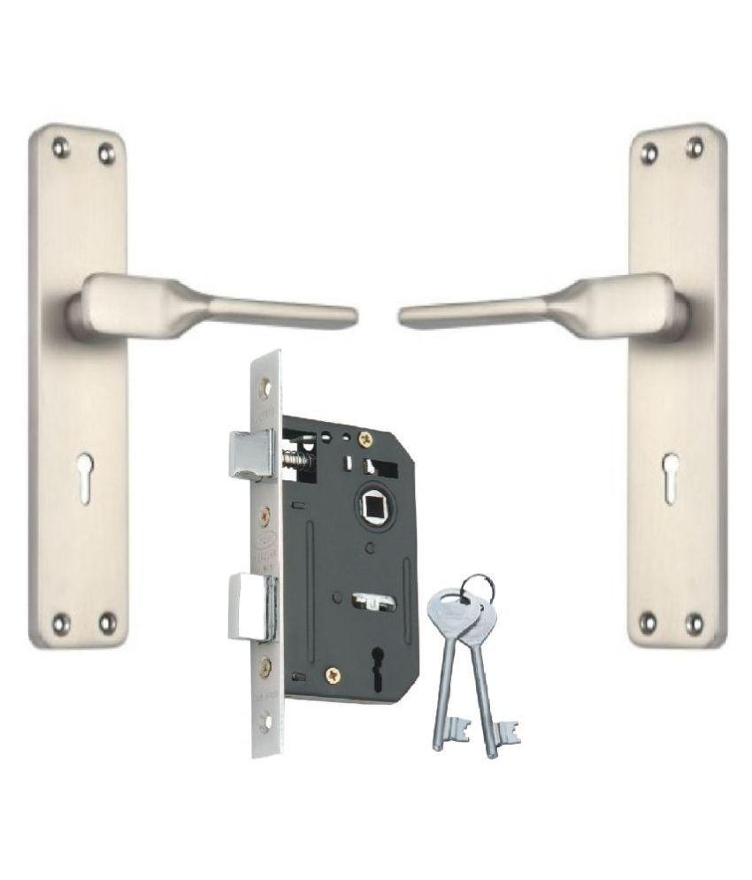Steel - Aluminium Door Mortice Lock Set KY Lock body single action with Matt Satin Silver Finish [RML4 + IALM03MSS]