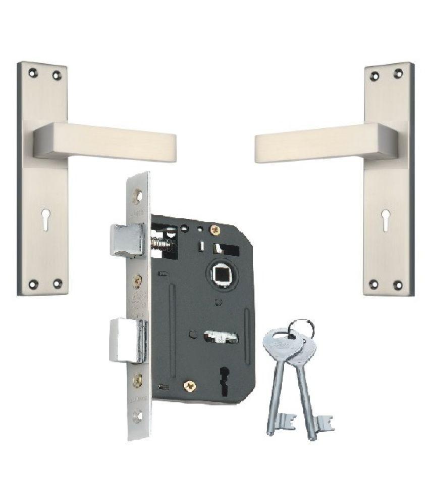 Steel - Aluminium Door Mortice Lock Set KY Lock body single action with Black Silver Finish [RML4 + IALM01BS]