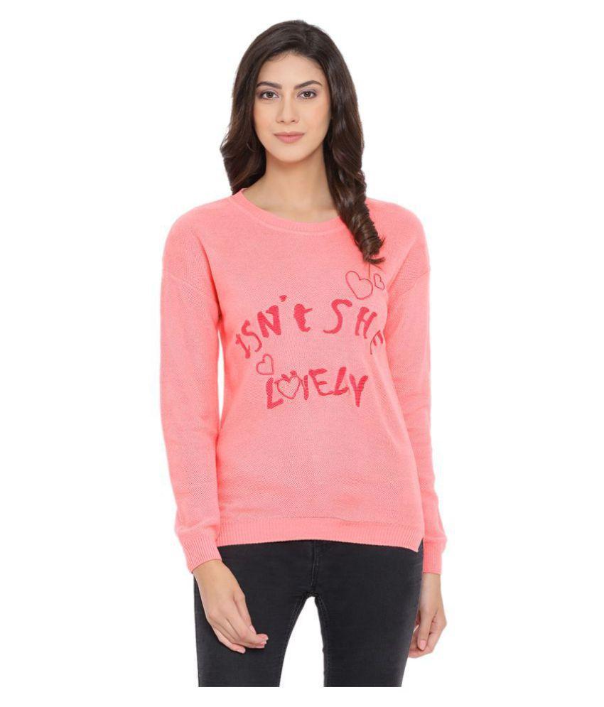 Moda Elementi Cotton Blend Pink Pullovers