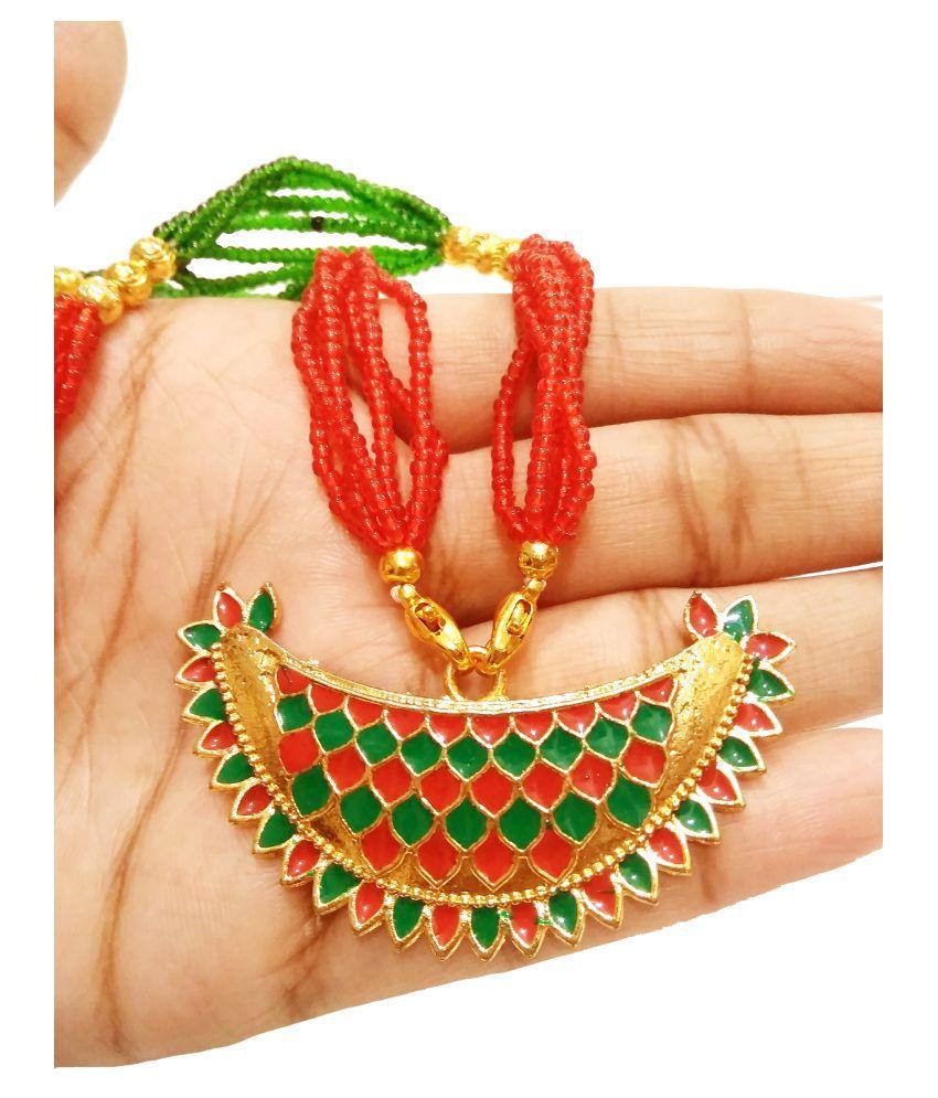 balaji gold Copper Multi Color Opera Designer Gold Plated Necklace