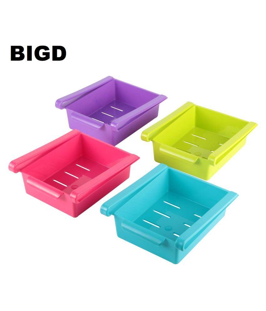 BIGD  Organizer Drawer - 4pcs Adjustable Fridge Storage Basket, Fridge Racks Tray Sliding Storage Racks(4pcs)