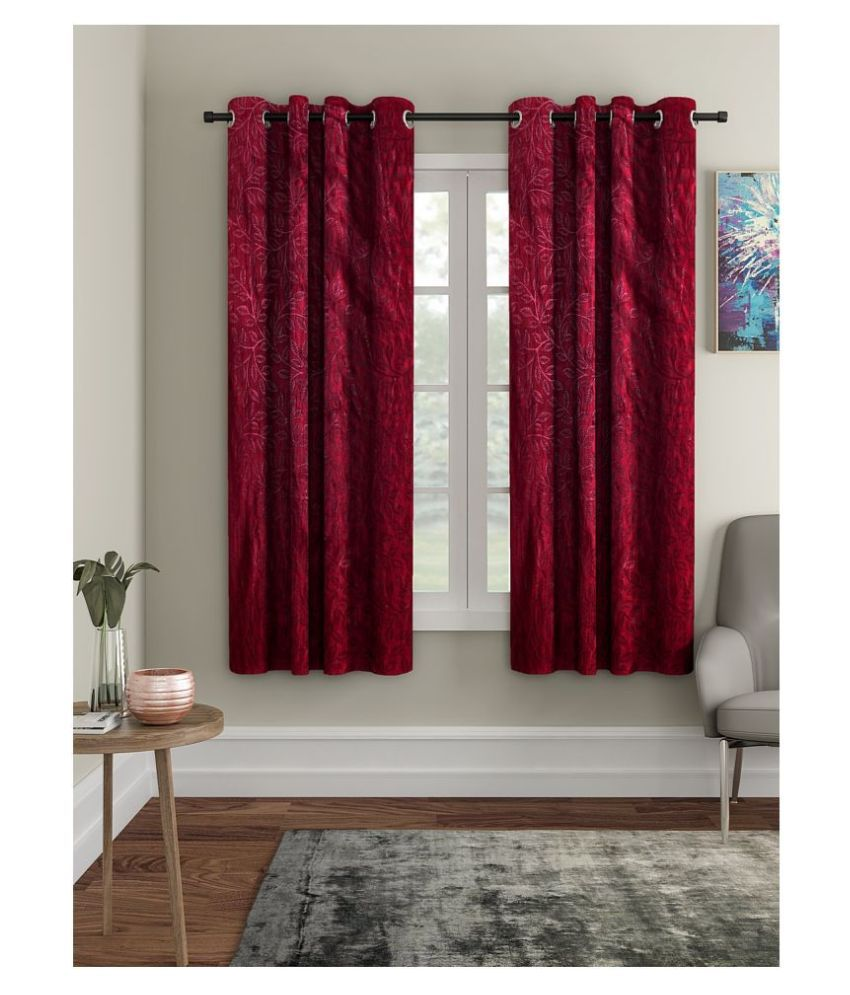 Cortina Set of 2 Window Semi-Transparent Eyelet Polyester Curtains Maroon