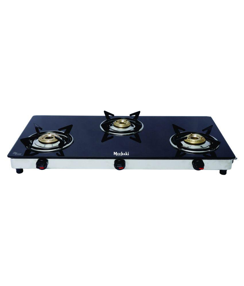 meehaki 3 buner ss slim black gas stove with brass burner