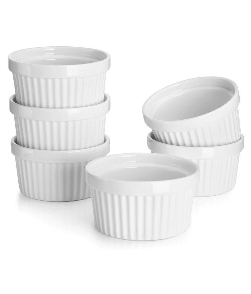 Mirakii Set of 6 Porcelain Ramekin Dessert Bowl 150ml