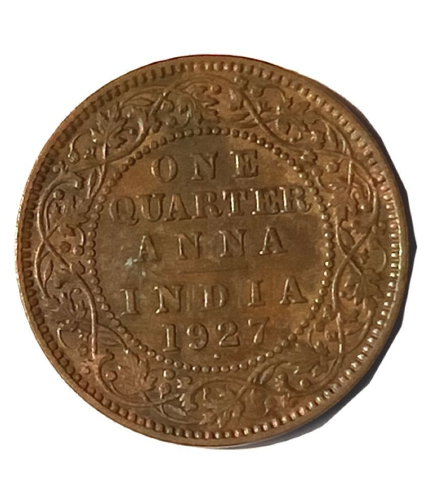 OLD RARE ONE QUARTER ANNA YEAR 1927 GEORGE V KING EMPEROR COIN
