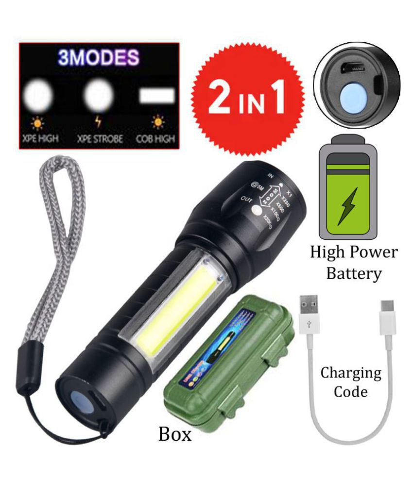 New 2 in 1 Rechargeable Battery Penlight Waterproof Light Led Flashlight Torch 7W Flashlight Torch Zoomable Flashlight - Pack of 1
