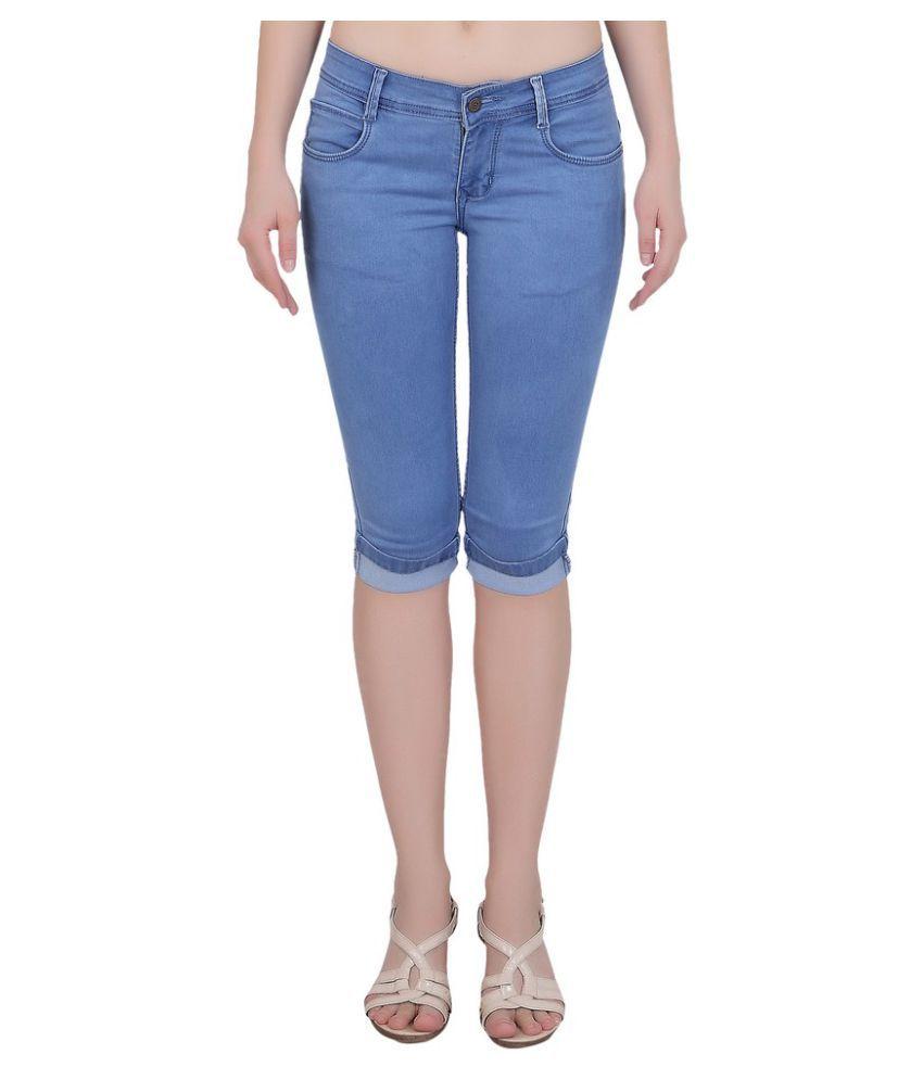 FORTH Blue Cotton Lycra Solid Capri
