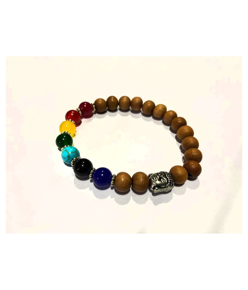 WOODEN BEADS AND NAVRATAN BRACLET SET OF 1