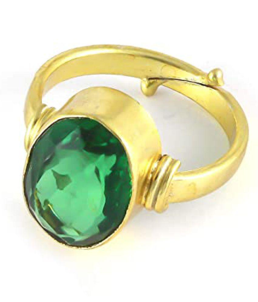 6.25 Ratti Full Transparent Green Beryl Panna Panchdhatu Ring/Anguthi For Astr
