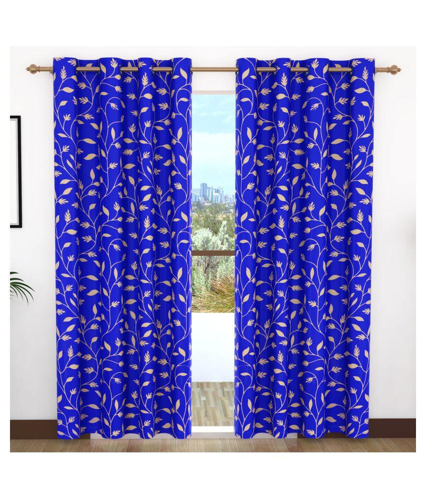 Bedspun Set of 2 Door Eyelet Polyester Curtains Blue