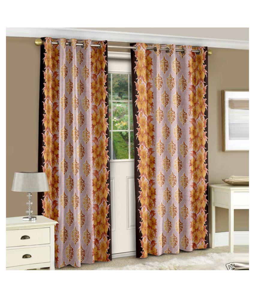 Bedspun Set of 2 Window Eyelet Polyester Curtains Beige