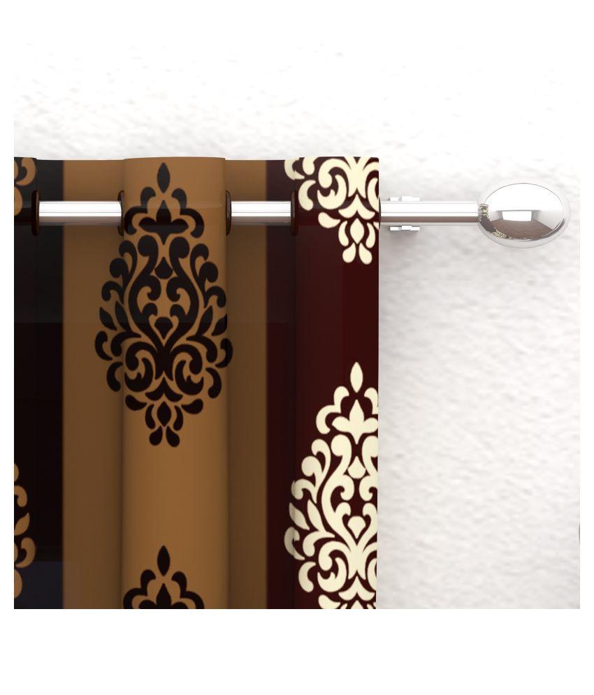 Bedspun Set of 2 Window Eyelet Polyester Curtains Brown