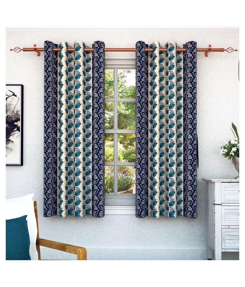 Bedspun Set of 2 Window Eyelet Polyester Curtains Blue