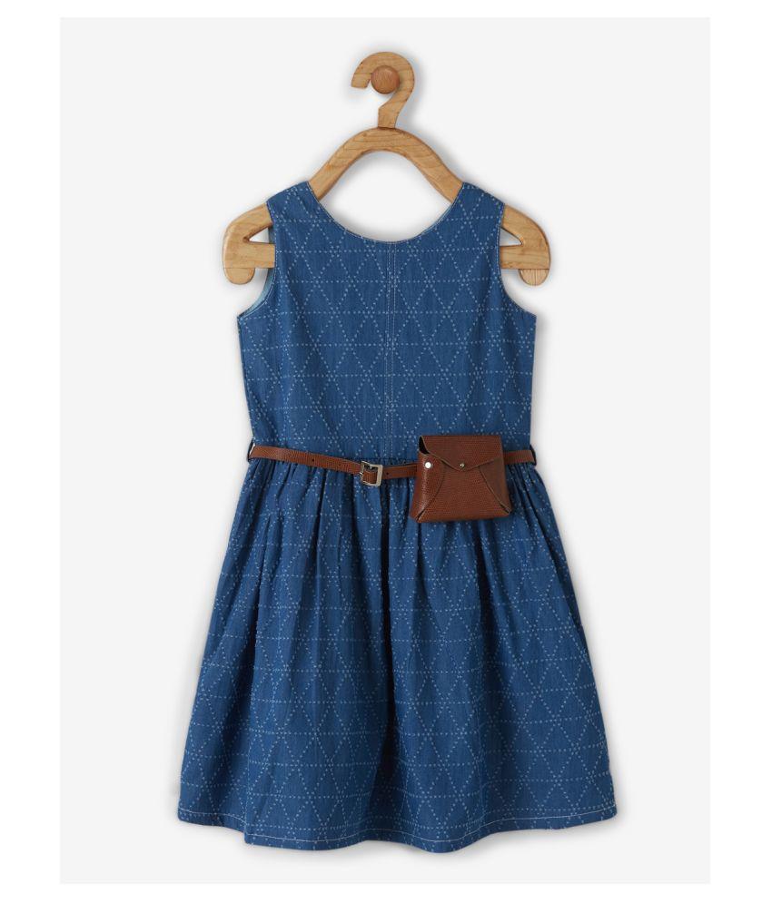 Powderfly Girls Dark Blue Denim Self Design Round Neck Mini Dress