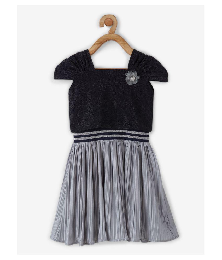 Powderfly Girls Navy Georgette Solid Round Neck Mini Dress