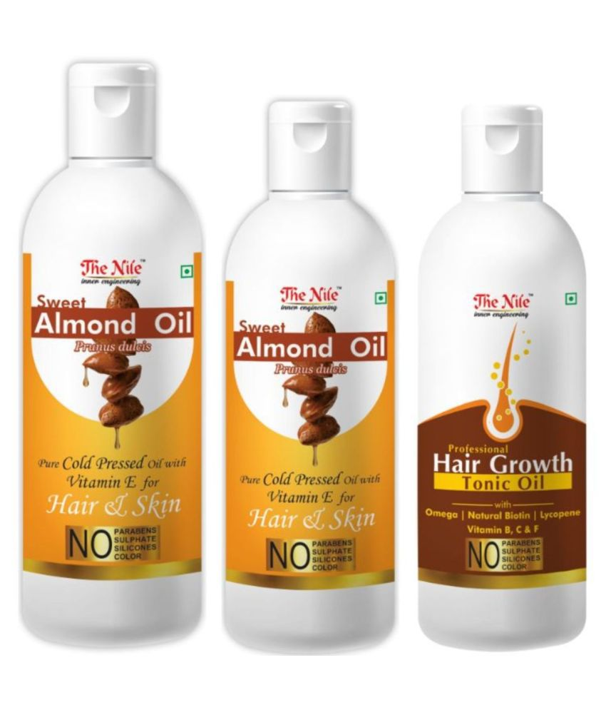 The Nile  Almond  150 ML + Almond  Oil 100 ML + Hair Tonic 100 Ml 350 mL Pack of 3