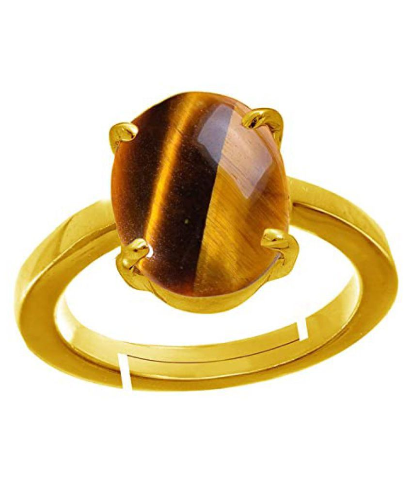 4.25Ratti Tiger's Eye Adjustable Ring Certified Stone for Men and Women