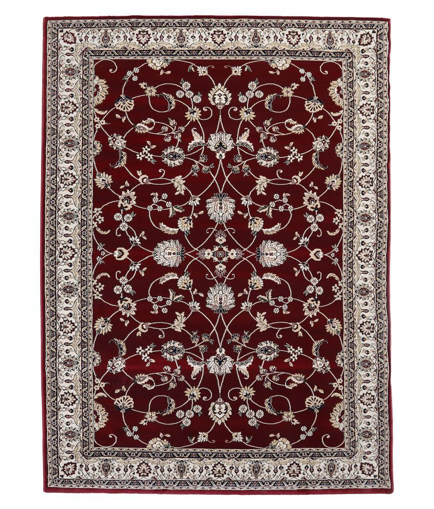 Obsessions Red Polypropylene Carpet Floral 2x4 Ft