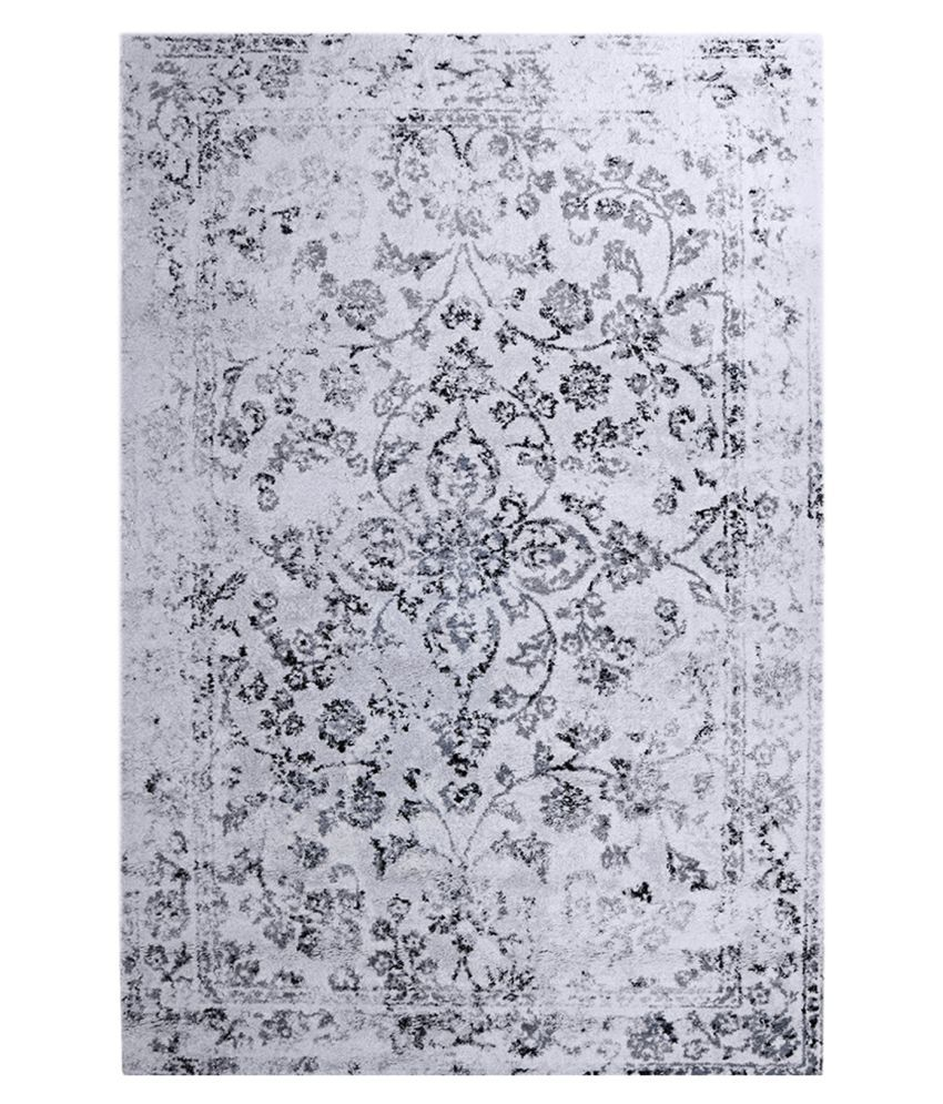Obsessions White Polypropylene Carpet Floral 2x4 Ft