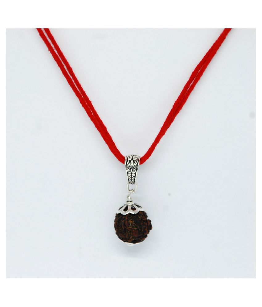 5 Mukhi Rudraksha Mala Silver Plated Cupping with Red cotton thread/Rudraksha Mala