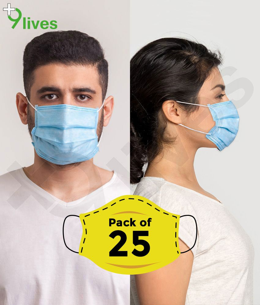 9lives Anti Pollution 3 Ply Ultrasonic Seaming Face Mask with Nose Pin - Pack of 25