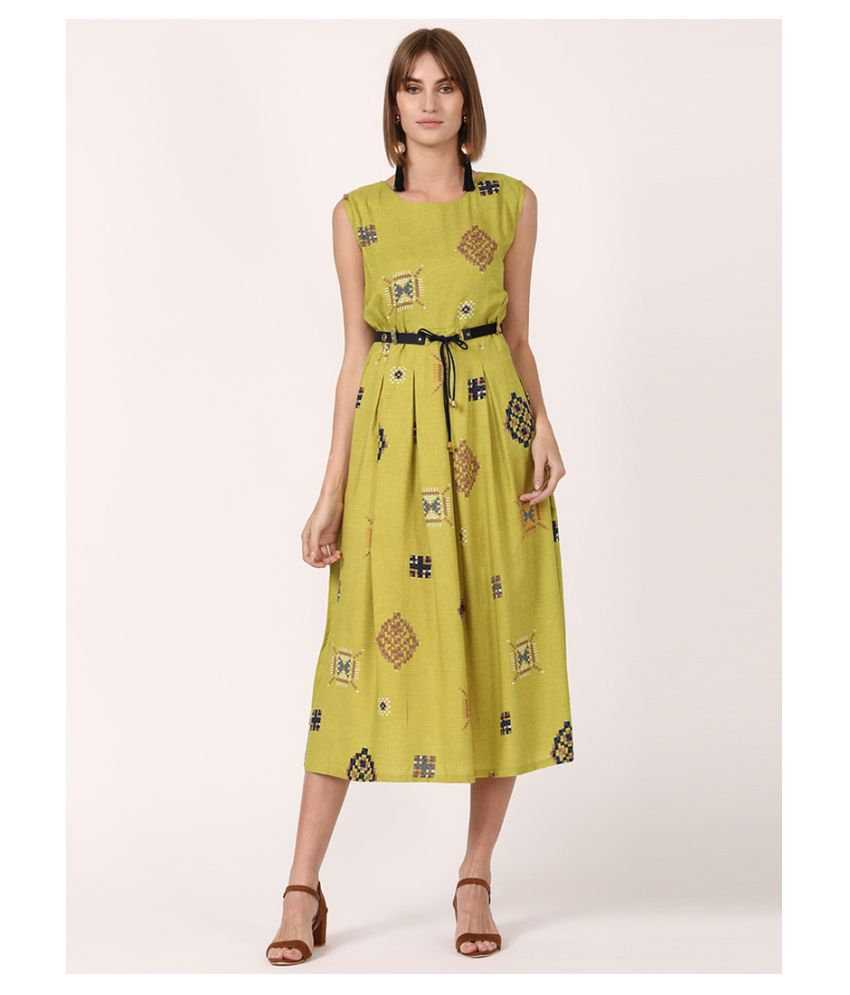 V2 Rayon Green Fit And Flare Dress