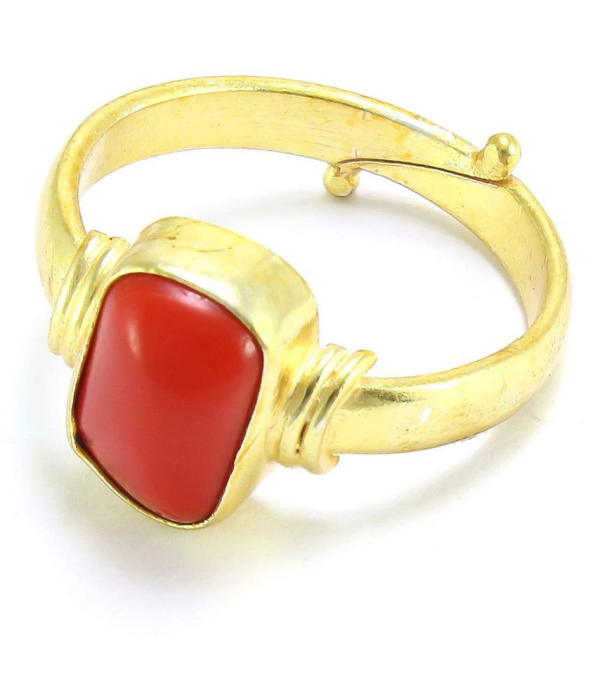 3.25 Ratti Red Coral Adjustable Moonga Ring for Men and Women