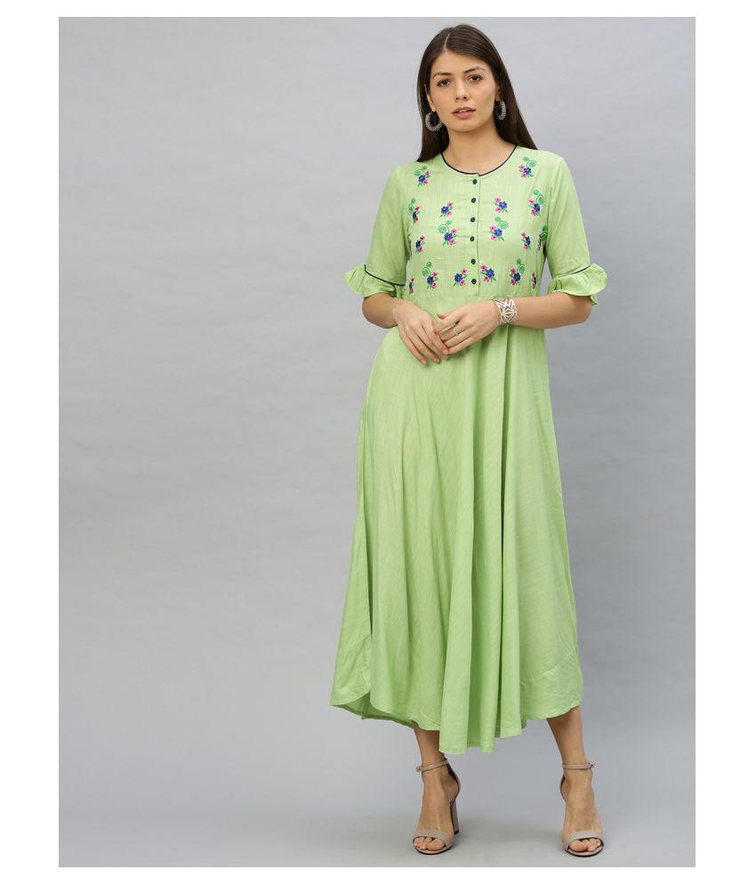 Akiko Rayon Green Regular Dress