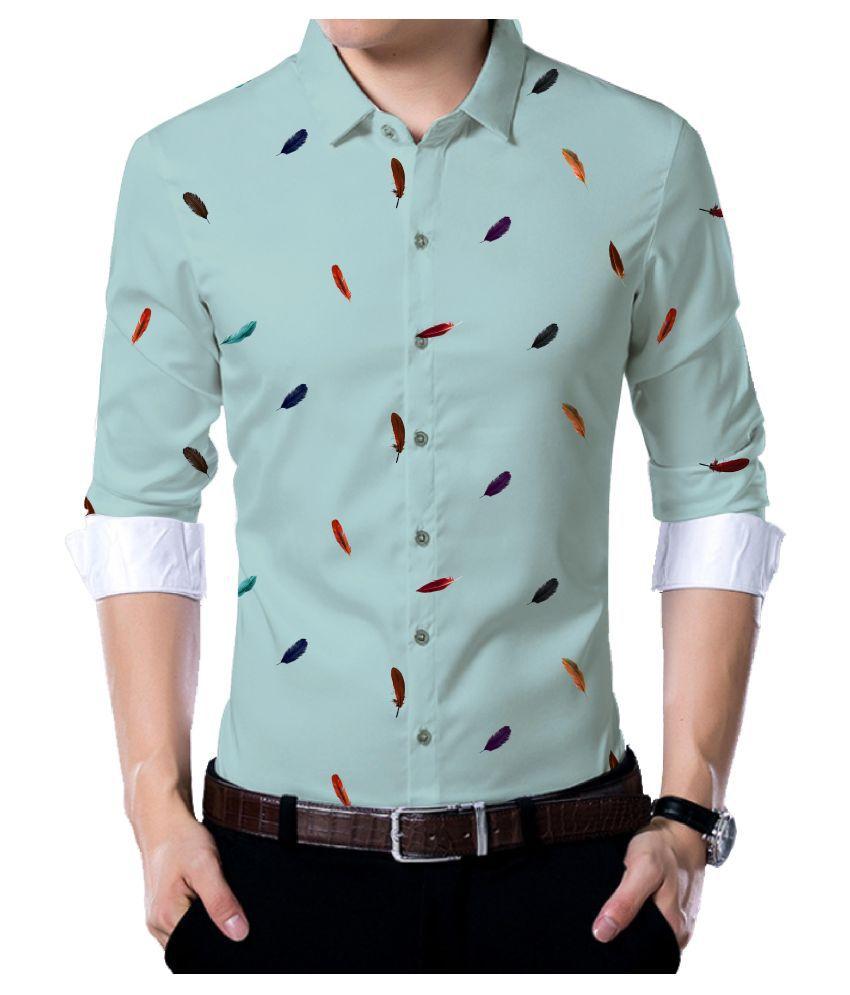 Jm Turquoise Poly Blend Unstitched Shirt pc