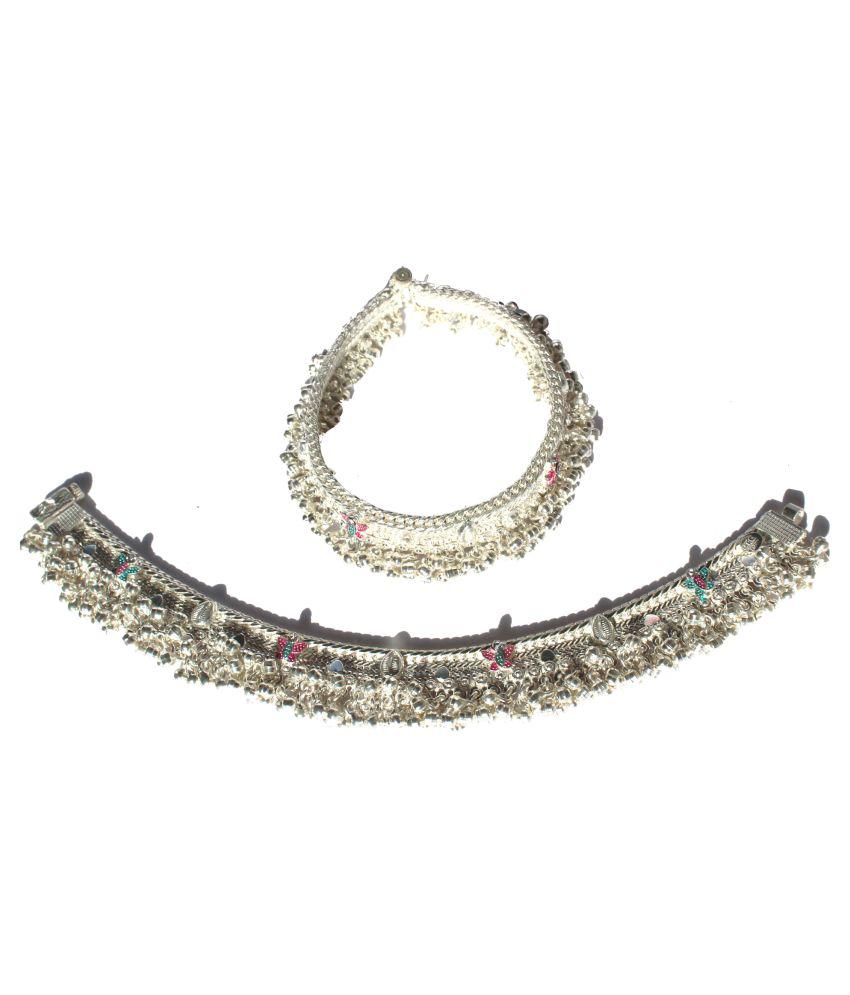 R K JEWELLERS Women's Pure Silver Rajwadi Zhanzhari Pajeb with Butterfly Design 9 inches