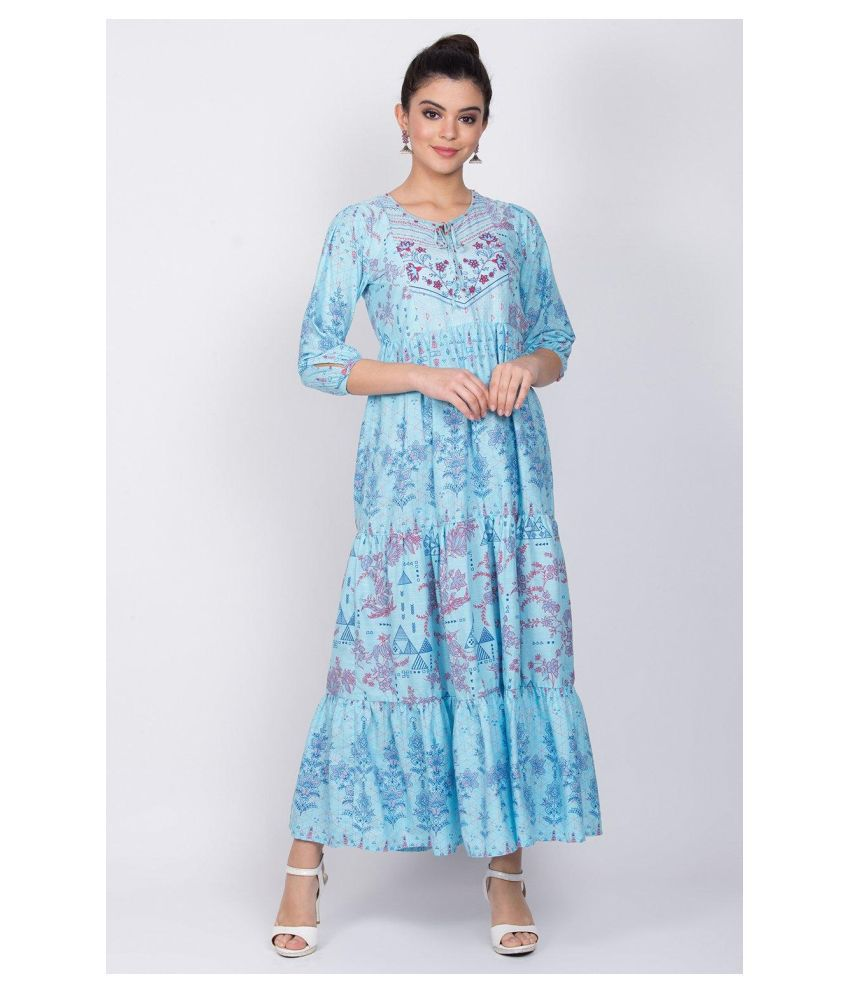 Rangriti Cotton Blue Regular Dress
