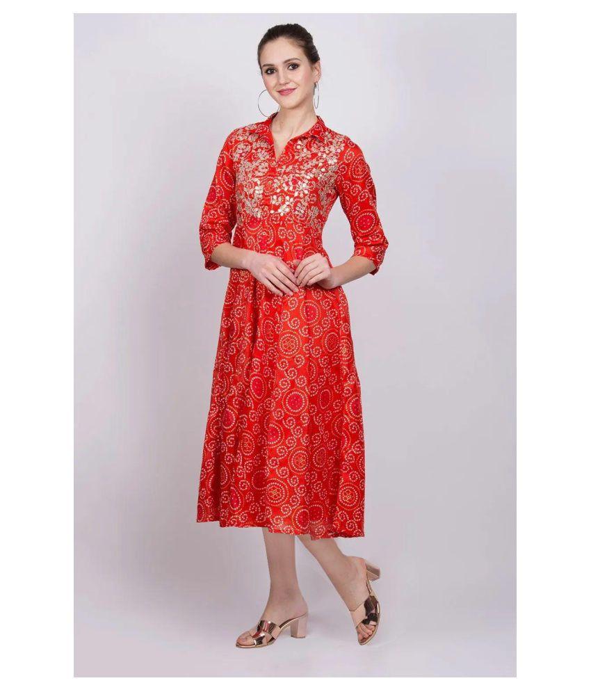 Rangriti Polyester Orange Regular Dress