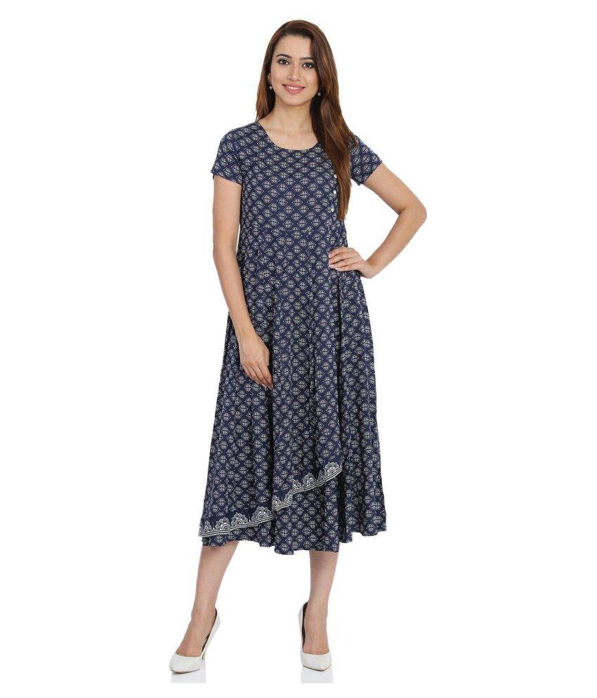 Rangriti Viscose Blue Regular Dress