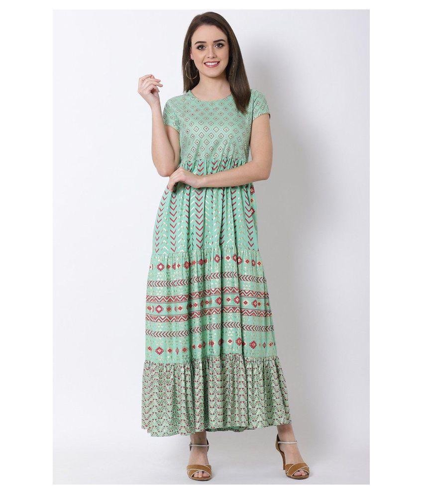 Rangriti Viscose Green Regular Dress