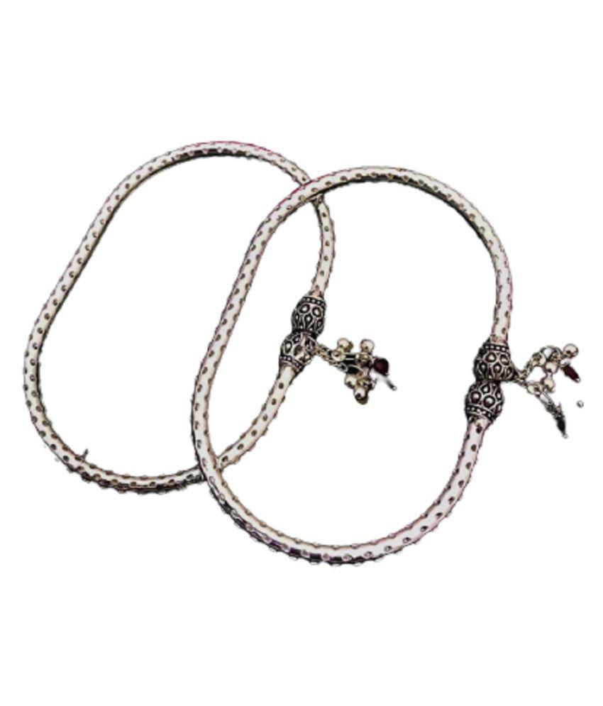 Oxidised German Silver Metal  Kada Anklet for Women'S & Girl's
