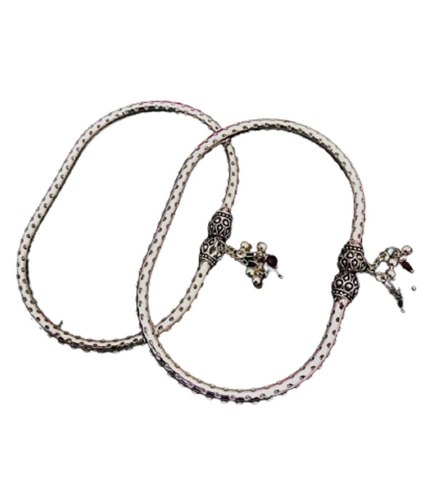Oxidised German Silver Metal  Kada Anklet for Women'S & Girl's