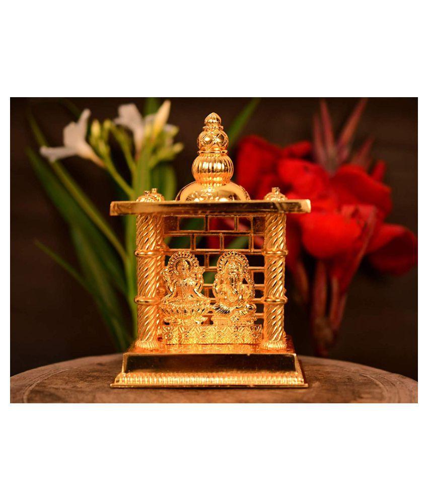 Puja N Pujari Gold Lakshmi Ganesh Temple Mandir for Diwali Pooja, Home Decor and Gift