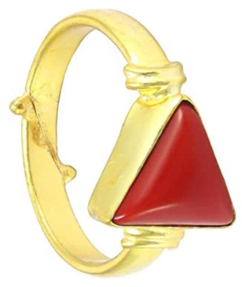 6.25 Ratti Tikona Moonga Stone Panchdhatu Adjustable Ring for Men and Women