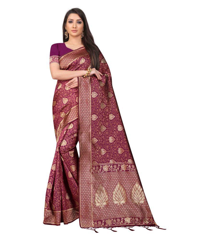 Angel Embroidery Pink Banarasi Silk Saree