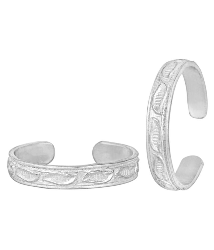 Attractive Plain Engraved Silver Toe Ring-TRRD049