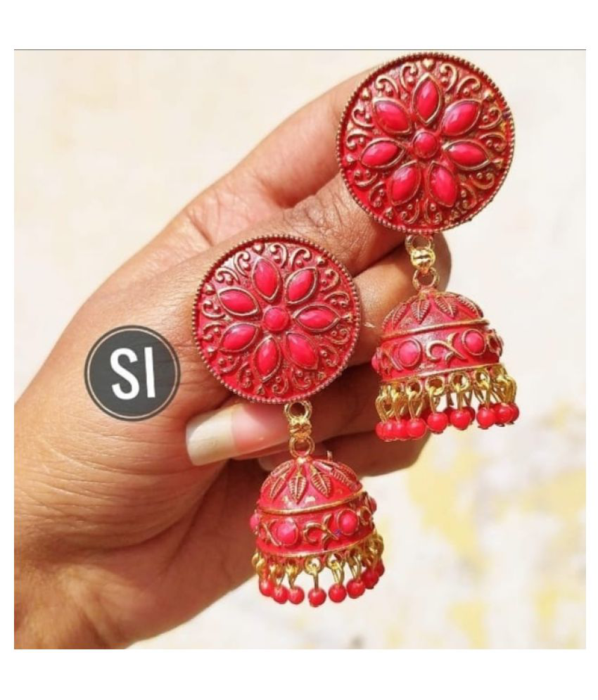 DIVVY Geometric shaped  party wear  Red Jhumka Earring For Women And Girls