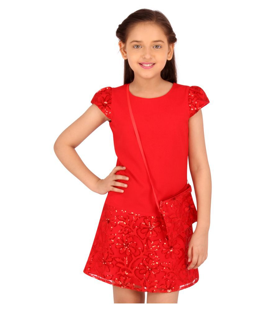 Partywear Embellished Cap Sleeves Dress