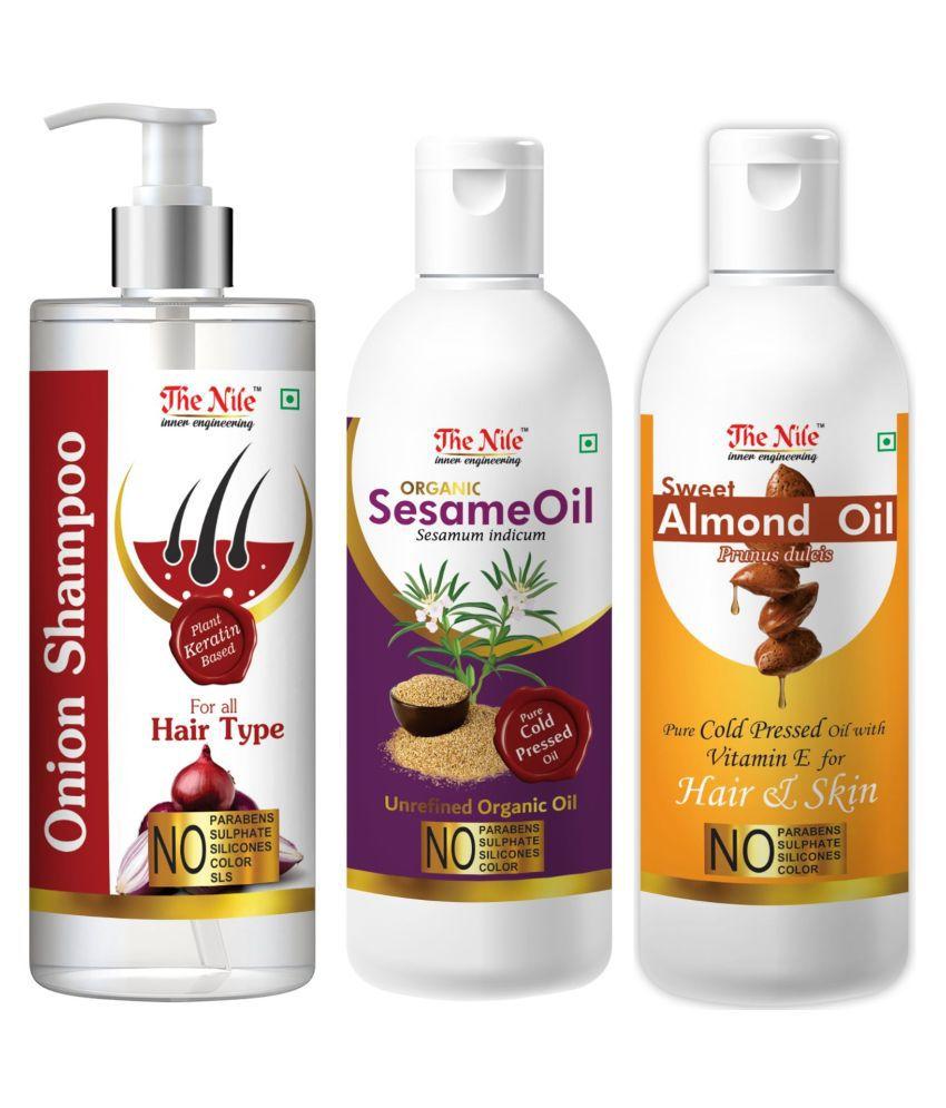 The Nile Red Onion Shampoo 200 ML + Sesame  100 ML + Sweet Almond 100 ML  Shampoo 400 mL Pack of 3